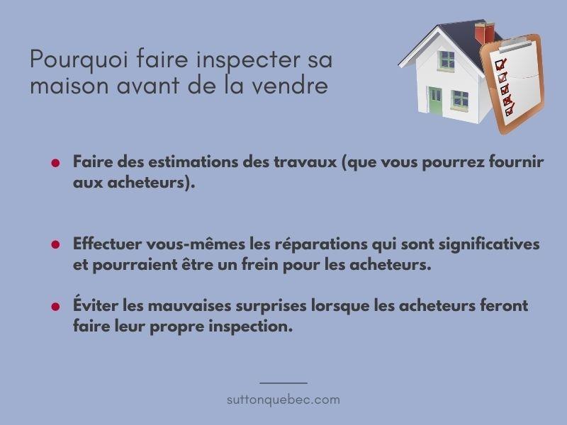 Raisons pour faire inspecter sa maison avant la vente